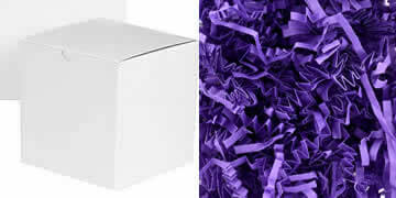 box with purple crinkle paper
